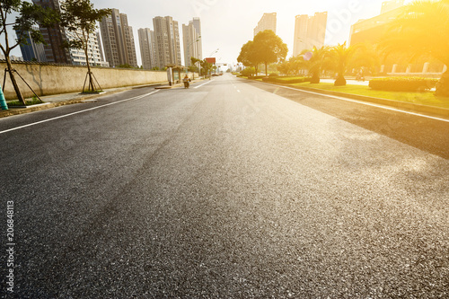 Fotobehang Meloen asphalt road in the city