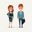 business man and business woman character in job design. business people in occupation.