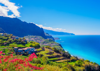 Panorama of Madeira island, Portuguese archipelag. Ponta de Sao Jorge on the ocean coast