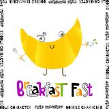 Doodle cute yellow croissant. Decorative vector illustration - 206859362
