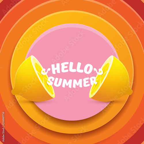 Vector Hello Summer Beach Party Flyer Design template with fresh lemon isolated on abstract circle orange background. Hello summer concept label or poster with orange fruit and typographic text. - 206861756