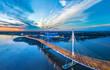 Leinwanddruck Bild - Panorama of Petersburg. Highway. Bridges of Petersburg. Aerial view of St. Petersburg. Panorama of Russian cities. Krestovsky Island.
