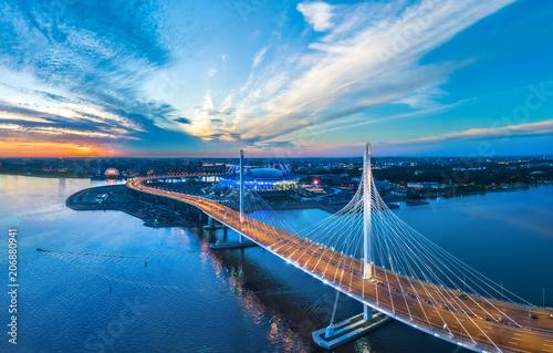 Leinwanddruck Bild Panorama of Petersburg. Highway. Bridges of Petersburg. Aerial view of St. Petersburg. Panorama of Russian cities. Krestovsky Island.