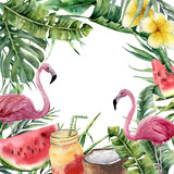 Watercolor tropical frame with palm branch and pink flamingo. Hand painted floral illustration with cocktail, watermelon, coconut and plumeria isolated on white background for design, fabric or print. - 206888933