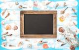 Sea shells empty blackboard blue watercolor background - 206889157