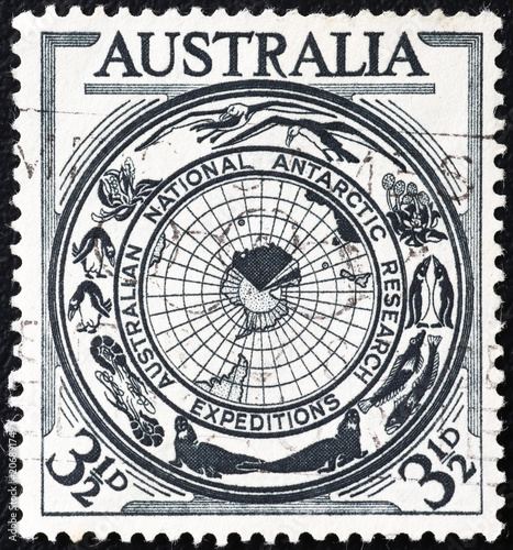 Fotobehang Antarctica Australian antarctic reaserch expeditions celebrated on postage stamp
