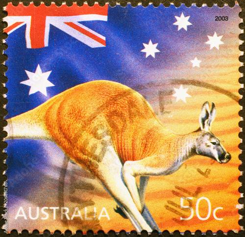 Aluminium Kangoeroe Australian flag & red kangaroo on postage stamp