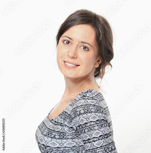 Side portrait of pretty brunette woman © lukas_zb