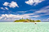 Small green island in ocean on Maldives - 206896301