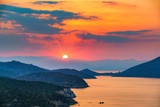 Colorful sunset over sea in Greece - 206896969