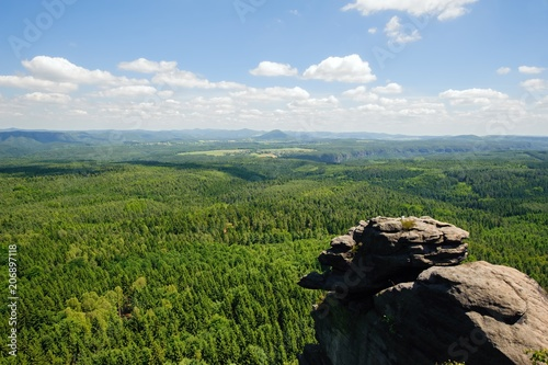 Aluminium Zomer Summer landscape with forests, meadows rocks and sky