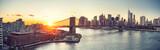 Panoramic view of Brooklyn bridge and Manhattan at sunset, New York City - 206897760