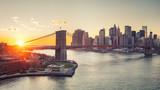 Panoramic view of Brooklyn bridge and Manhattan at sunset, New York City - 206897796