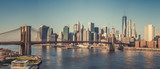 Brooklyn bridge and Manhattan at sunny day, New York City - 206897956