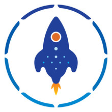 Rocket Illustration  Round  Sticker