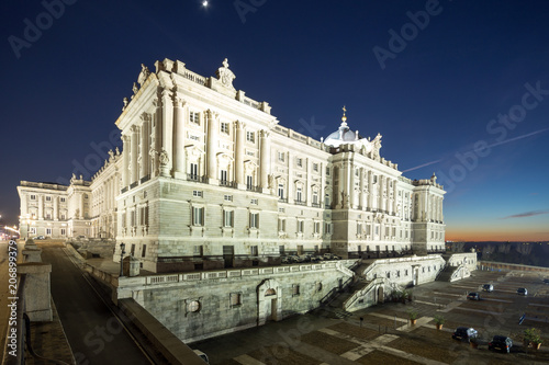Night view of the facade of the Royal Palace of Madrid, Spain