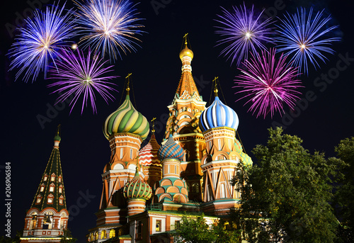 Fotobehang Moskou Fireworks over Saint Basil's Cathedral, Moscow