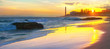 Leinwanddruck Bild - Beach and view of Maspalomas lighthouse at sunset.  Gran Canaria, Spain