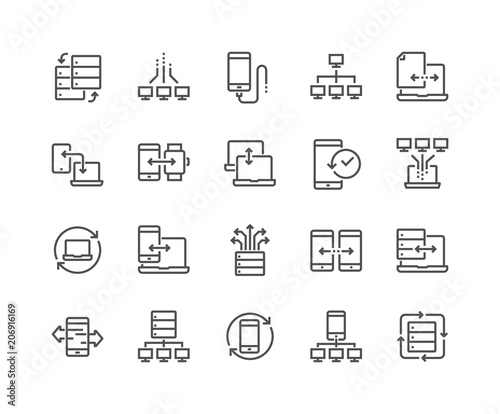 Simple Set of Data Exchange Related Vector Line Icons. Contains such Icons as Phone Backup, Traffic, Sync and more. Editable Stroke. 48x48 Pixel Perfect.