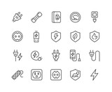 Simple Set of Surge Protector Related Vector Line Icons. Contains such Icons as American European Socket, USB Charge, Child Protection and more. Editable Stroke. 48x48 Pixel Perfect. - 206917139