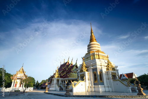 Fotobehang Boeddha Fire wark and candle for buddhism ceremony with buddha statue, watkratinglay, criracha, chonburi, Thailand,