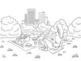 Picnic basket graphic black white park landscape sketch illustration vector - 206935104