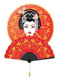 Geisha with Fan and Umbrella