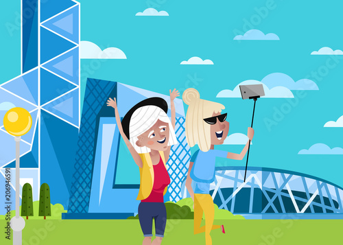 Aluminium Turkoois Smiling old women doing selfie on background of modern architecture. Active elderly concept with retired people around the world. Senior people traveling by famous attractions vector illustration.