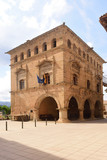 square and town hall of the village of Arnes, Terra Alta, Tarragona province, Catalonia, Spain