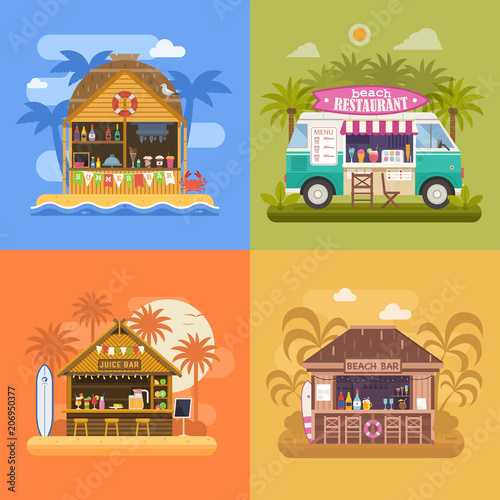 Exotic beach bar set. Summer restaurants on sea coast and food van selling fruit shakes, juice and cocktails. Beach party banners with tropical tiki bar hut, bungalow and ice cream truck. - 206950377