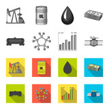 Railway tank, chemical formula, oil price chart, pipeline valve. Oil set collection icons in monochrome,flat style vector symbol stock illustration web.