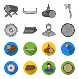 Circular saw, a working carpenter, a stack of logs. A sawmill and timber set collection icons in monochrome,flat style vector symbol stock illustration web. - 206953967