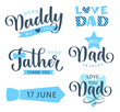 Happy Fathers day lettering greeting text. Vector set for holiday design