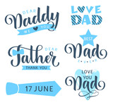 Happy Fathers day lettering greeting text. Vector set for holiday design - 206957195