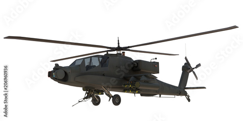 Fototapeta AH64 Apache attack Helicopter 3d render