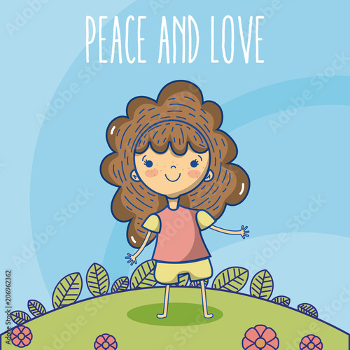 Fotobehang Pool Peace and love cartoons