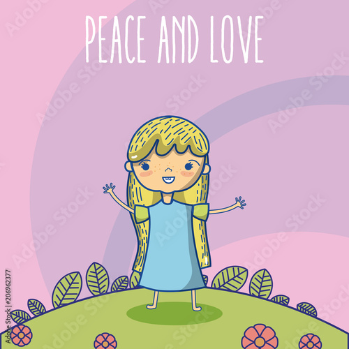 Fotobehang Purper Peace and love cartoons