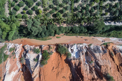 Fotobehang Khaki Red Canyon and The Fairy Spring aerial view, Mui Ne, Vietnam