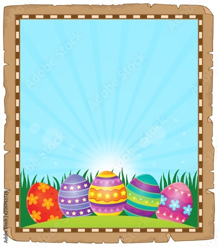Canvas Voor kinderen Parchment with Easter eggs 1