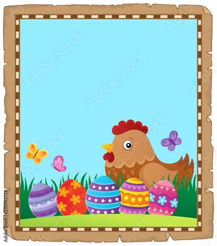 Canvas Voor kinderen Parchment with Easter hen and eggs