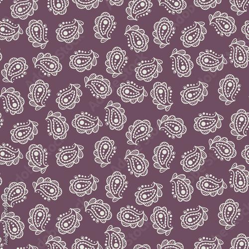 Cotton fabric Paisley burgundy simple indian pattern. Batik motif print seamless design for fabric and textile.