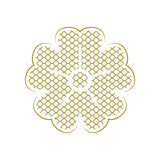 Abstract japanese background with flower. Asian golden background, traditional oriental culture vector illustration.