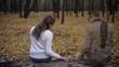 Leinwanddruck Bild - Girl returning to place of dates and feeling spirit of presence of her beloved