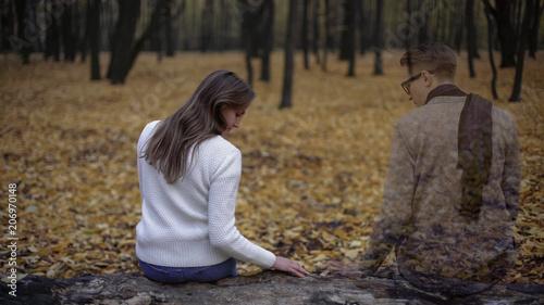 Leinwanddruck Bild Girl returning to place of dates and feeling spirit of presence of her beloved