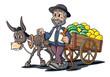 Händler mit Melonen auf Esel Karren, Cartoon  - 206971121