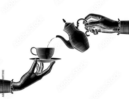 Black silhouette of two woman's hands with a coffee pot and cup