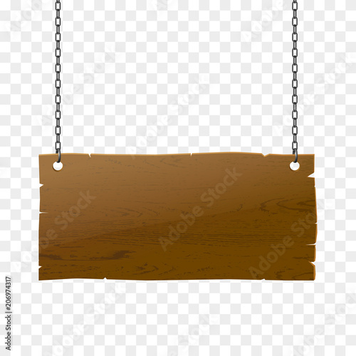 Wooden signboard isolated, vector realistic wood texture illustration. Old-style banner with chains.