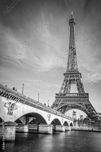 Iena bridge and Eiffel tower, black and white photogrpahy, Paris France - 206974779