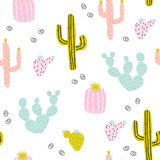 Seamless pattern with hand drawn cactus. Cute colorful print. Vector illustration. - 206977704