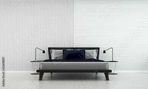 Nowożytny biały sypialnia wnętrze projektuje i dachówkowy ścienny tekstury tło
